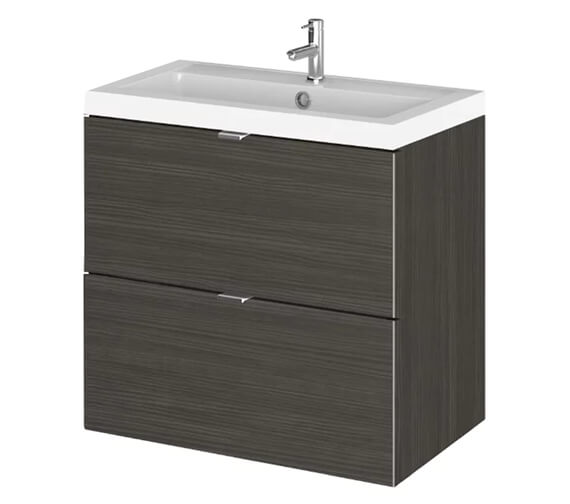Alternate image of Hudson Reed Fusion 600mm Wall Hung Full Depth 2 Drawer Vanity Unit And Basin