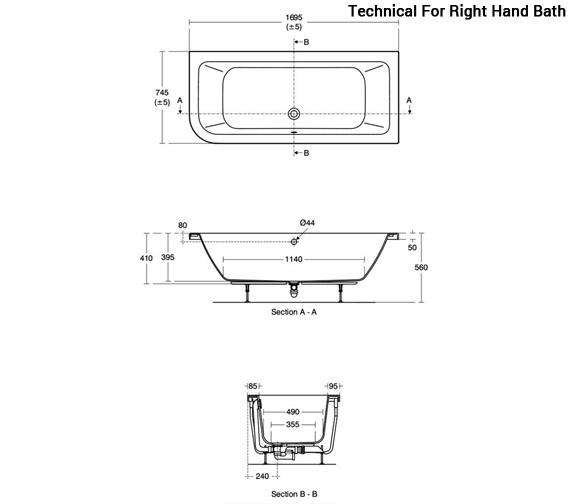 Additional image of Ideal Standard Concept 1700 x 750mm Asymmetric Idealform Plus Bath