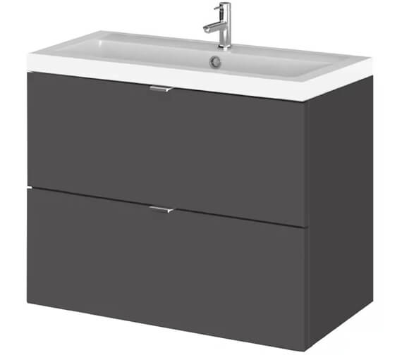 Alternate image of Hudson Reed Fusion 800mm Wall Hung Full Depth 2 Drawer Vanity Unit And Basin