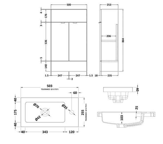 Alternate image of Hudson Reed Fusion 500mm Floor-Standing  Slimline Vanity Unit And Basin