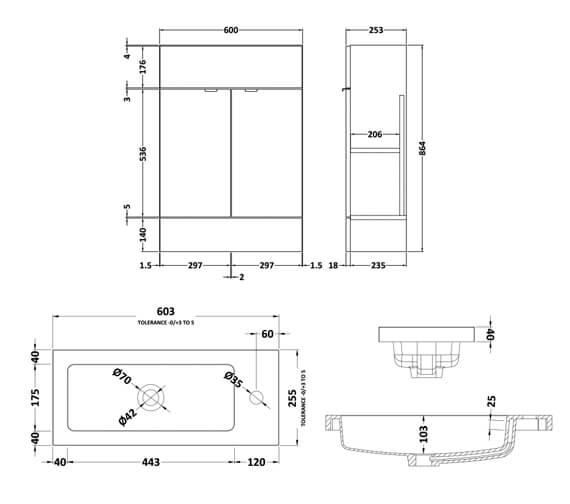 Alternate image of Hudson Reed Fusion 600mm Floorstanding Slimline Vanity Unit And Basin