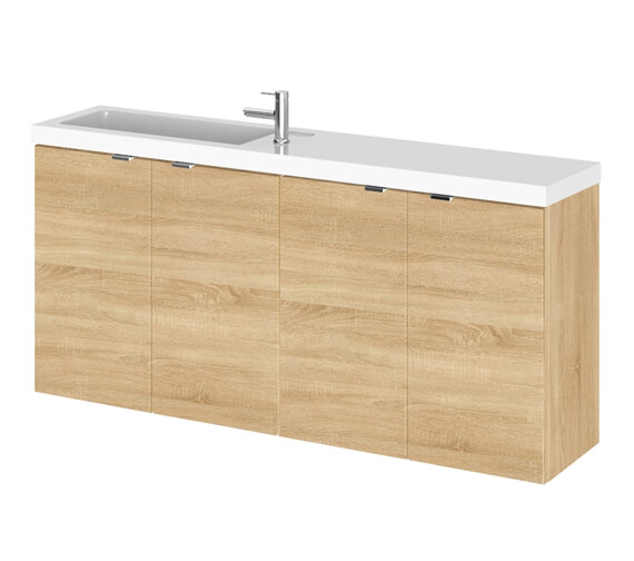Additional image of Hudson Reed Fusion 1200mm Wall Hung 4 Door Slimline Vanity Unit And Basin