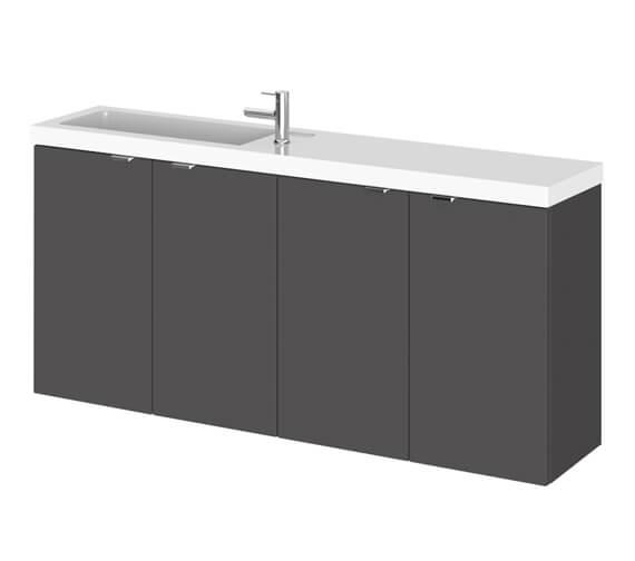 Alternate image of Hudson Reed Fusion 1200mm Wall Hung 4 Door Slimline Vanity Unit And Basin
