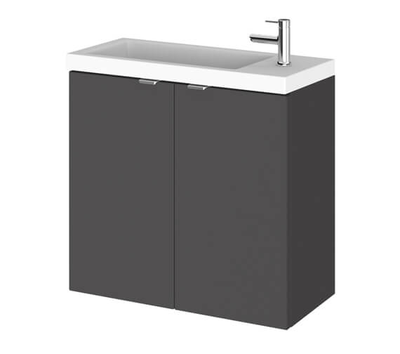 Alternate image of Hudson Reed Fusion 600mm Wall Hung 2 Door Slimline Vanity Unit And Basin
