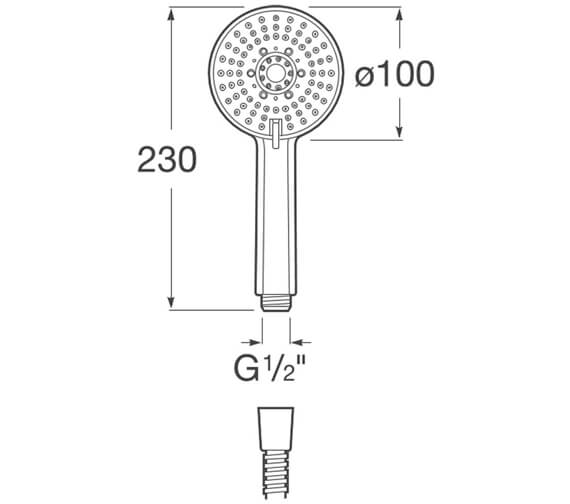Alternate image of Roca Stella 80mm Round Shower Handset With 1 Function