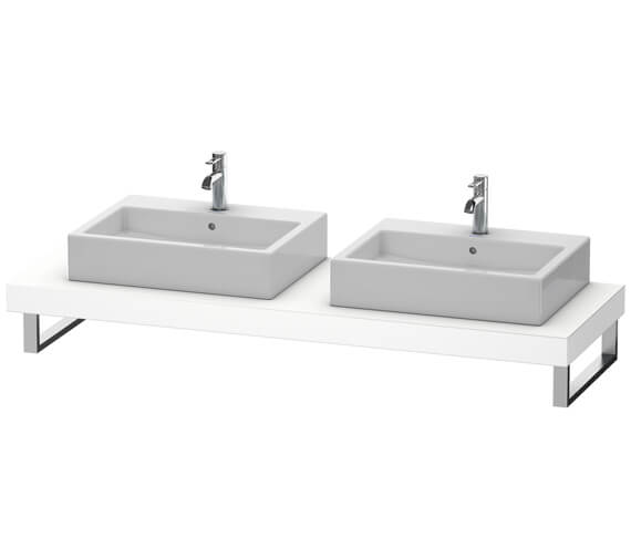 Duravit Fogo 800 x 550mm White Matt Console With 2 Cut Out For Above Countertop Basin