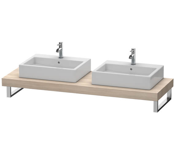 Additional image of Duravit Fogo 800 x 550mm White Matt Console With 2 Cut Out For Above Countertop Basin