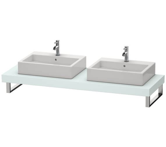 Alternate image of Duravit Fogo 800 x 550mm White Matt Console With 2 Cut Out For Above Countertop Basin