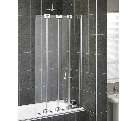 Aqua 6 Polished Silver Frame 4 Fold Bath Screen 850mm - 1161771