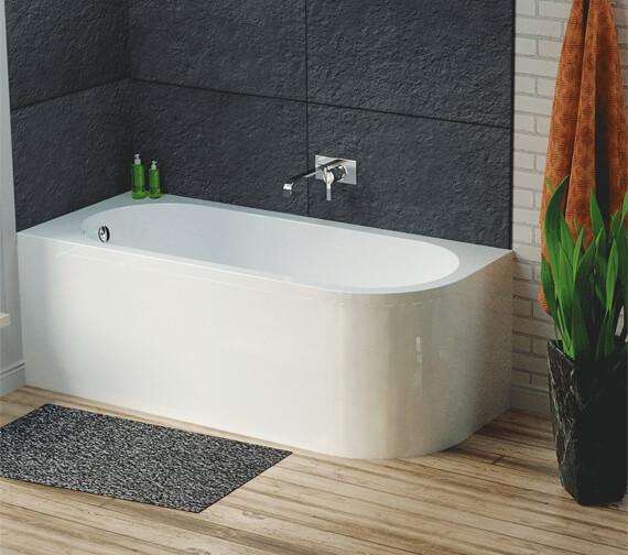 Hudson Reed Dahlia 1700 x 725mm Back to Wall Corner Bath With Panel