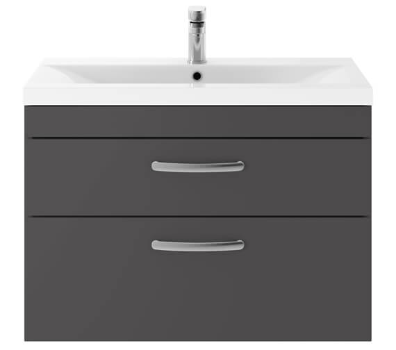 Alternate image of Premier Athena 800mm 2 Drawer Wall Hung Cabinet With Basin 2 Gloss White Finish