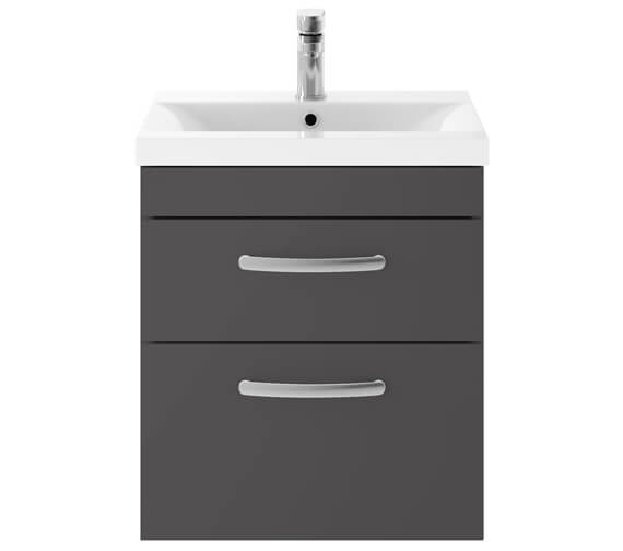 Alternate image of Premier Athena 500mm 2 Drawer Wall Hung Cabinet With Basin 1 Gloss White Finish