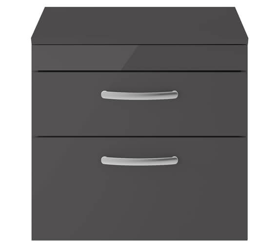 Alternate image of Premier Athena 600mm 2 Drawer Wall Hung Cabinet With Worktop Gloss White Finish