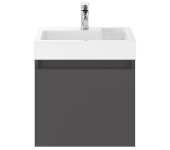 Alternate image of Premier Merit 500mm Single Door Driftwood Wall Hung Vanity Unit With Basin