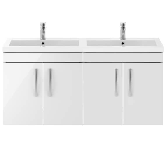 Nuie Athena 1200mm Wide Wall Hung 4 Door Cabinet And Double Basin