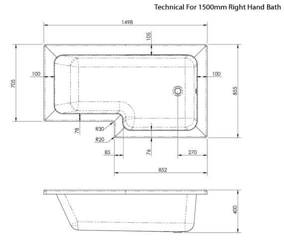 Additional image of Premier Square Left Hand Shower 1500mm Bath Set