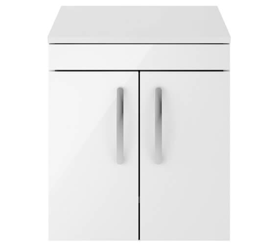 Nuie Athena 500mm Wall Hung 2 Door Cabinet With Worktop