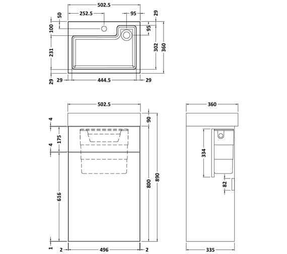 Technical drawing QS-V96176 / PRC145CB