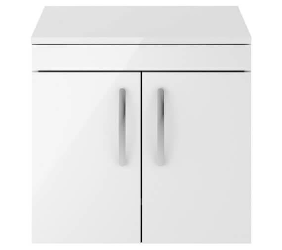 Nuie Premier Athena 600mm Wall Hung 2 Door Cabinet With Worktop