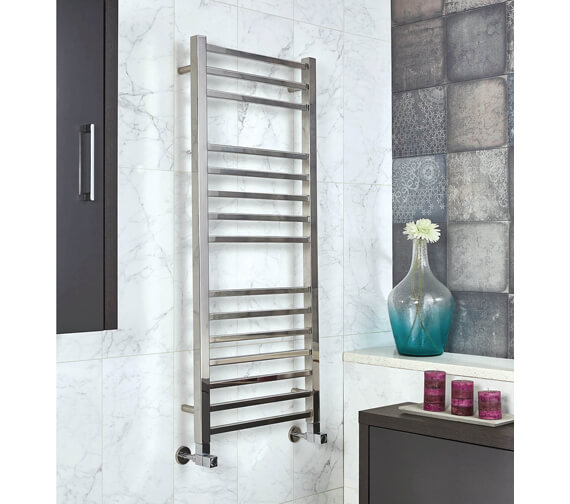 Phoenix Harper 500mm Wide Stainless Steel Pre Filled Electric Towel Rail