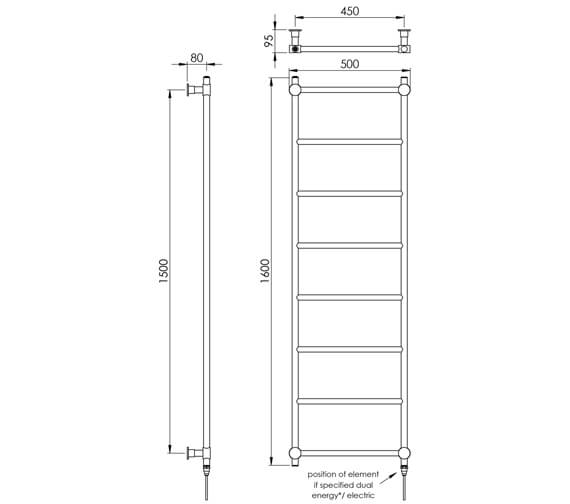 Additional image of Vogue Venture 500mm Width Straight Towel Rail