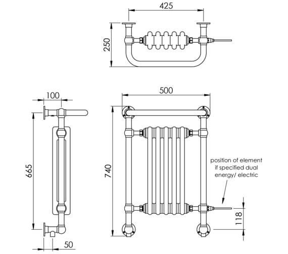 Technical drawing QS-V88557 / LG005C BR074050CP
