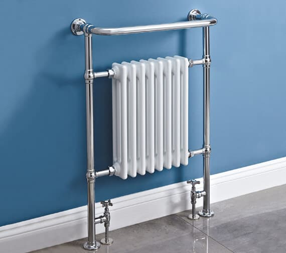 Phoenix York 673 x 963mm Pre Filled Electric Towel Rail White And Chrome