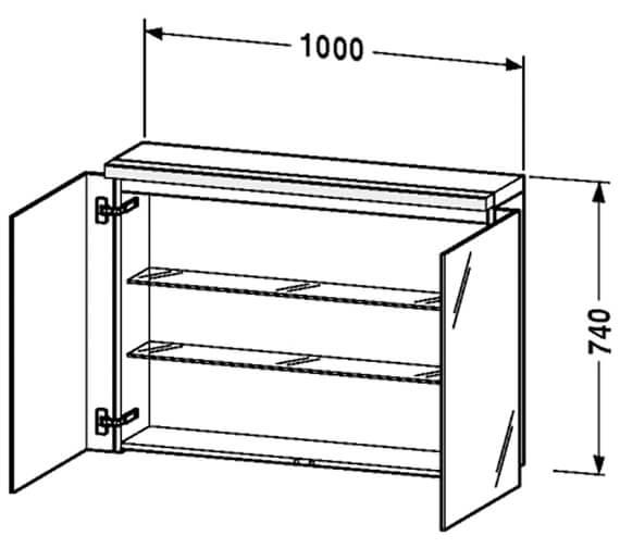 Additional image of Duravit Fogo 600 x 740mm 2 Door White Matt Mirror Cabinet