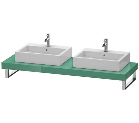 Duravit Fogo 800 x 550mm Jade High Gloss Console With 2 Cut Out For Above Countertop Basin