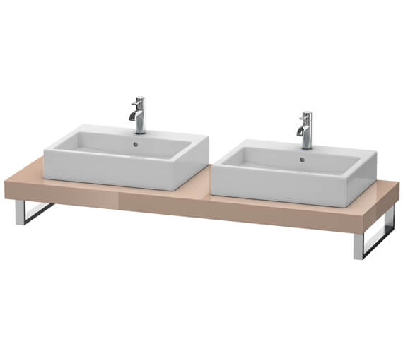 Alternate image of Duravit Fogo 800 x 550mm Jade High Gloss Console With 2 Cut Out For Above Countertop Basin