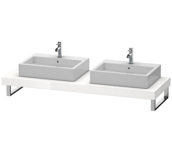 Duravit Fogo 800 x 550mm White High Gloss 2 Cut Out Console For Countertop Basin