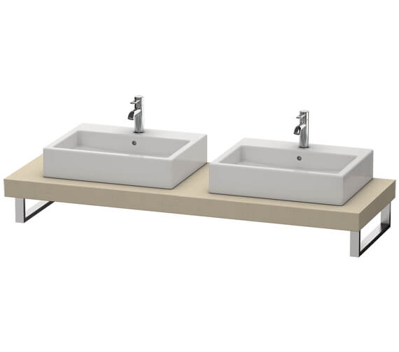 Additional image of Duravit Fogo 800 x 550mm White High Gloss 2 Cut Out Console For Countertop Basin