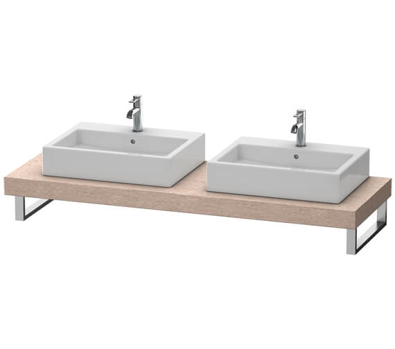Duravit Fogo 800 x 550mm Oak Cashmere Console With 2 Cut Out For Above Countertop Basin