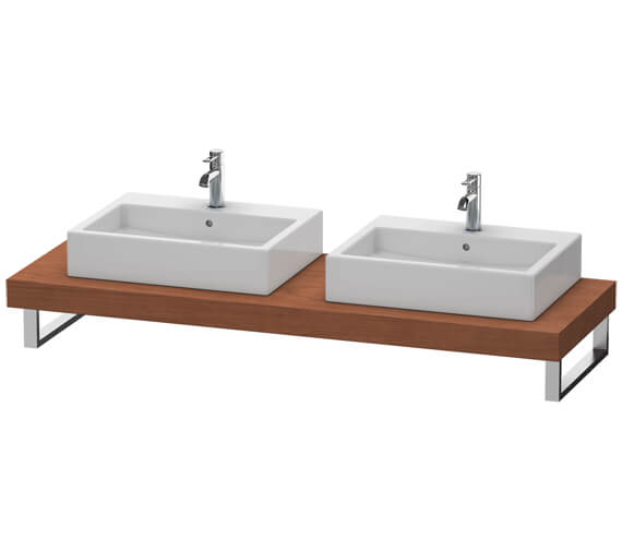 Additional image of Duravit Fogo 800 x 550mm Oak Cashmere Console With 2 Cut Out For Above Countertop Basin