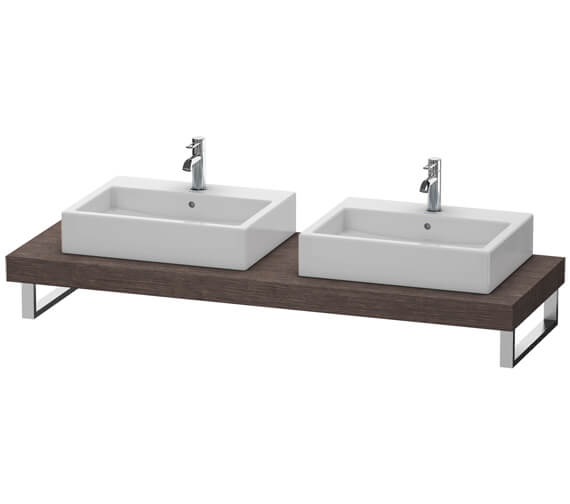 Alternate image of Duravit Fogo 800 x 550mm Oak Cashmere Console With 2 Cut Out For Above Countertop Basin