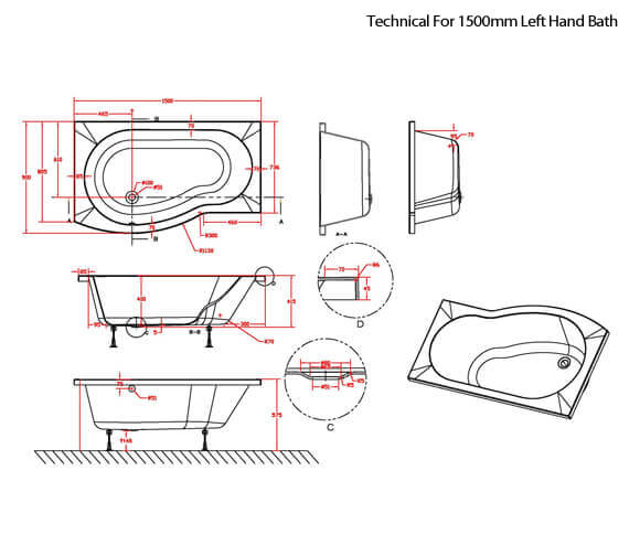 Technical drawing QS-V42519 / SBATH20