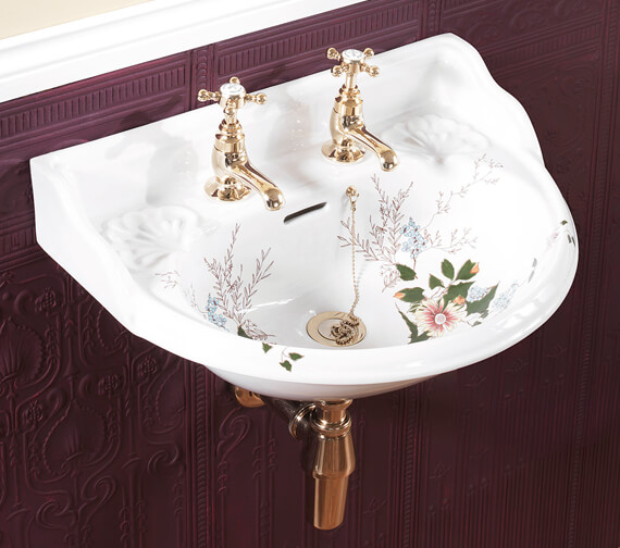 Silverdale Victorian Garden White 2TH Cloakroom Basin