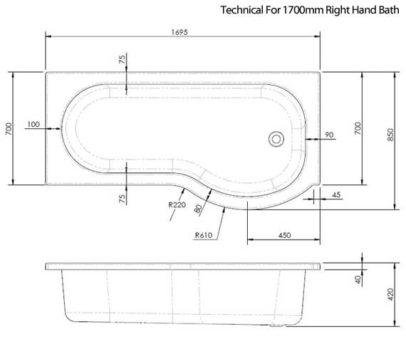 Alternate image of Nuie Premier 1500mm P-Shaped Shower Bath