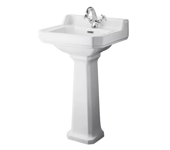 Hudson Reed Richmond White Basin With Comfort Height Pedestal
