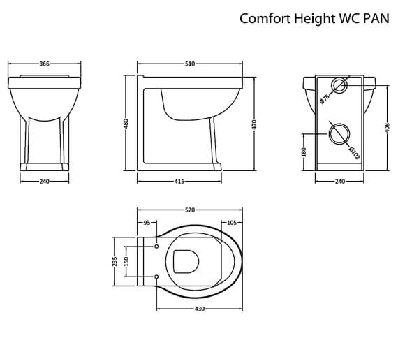 Additional image of Hudson Reed Richmond Back-To-Wall WC Pan