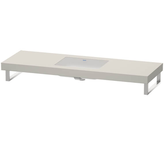 Alternate image of Duravit Fogo 800 x 550mm White Matt 1 Cut Out Console For Inset Basins F Bonded