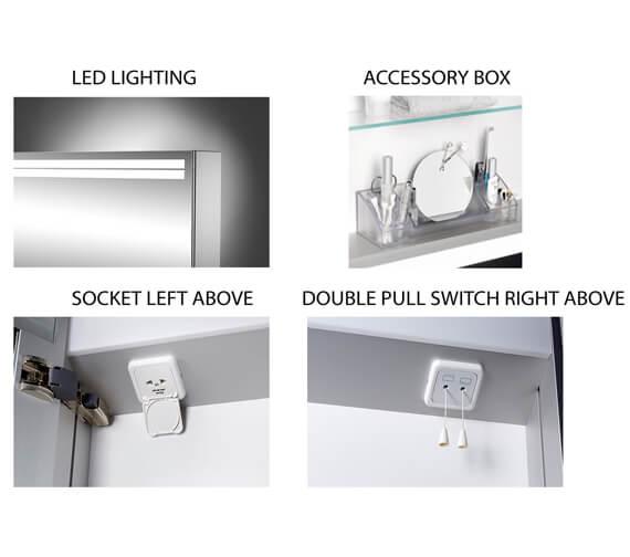 Alternate image of Schneider Arangaline 1 Door Mirror Cabinet With LED