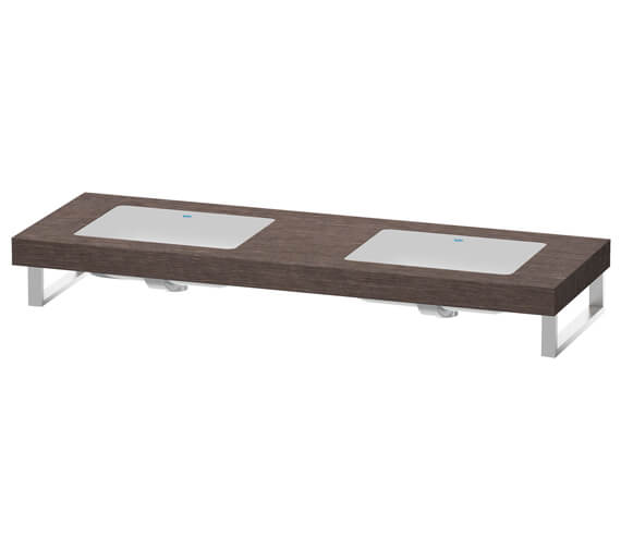 Alternate image of Duravit Fogo 800 x 550mm Oak Cashmere 2 Cut Out Console For Inset Basins F Bonded