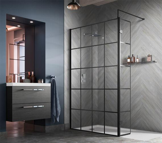 Hudson Reed Black Framed Walk-In Wetroom Screen And Support Bar