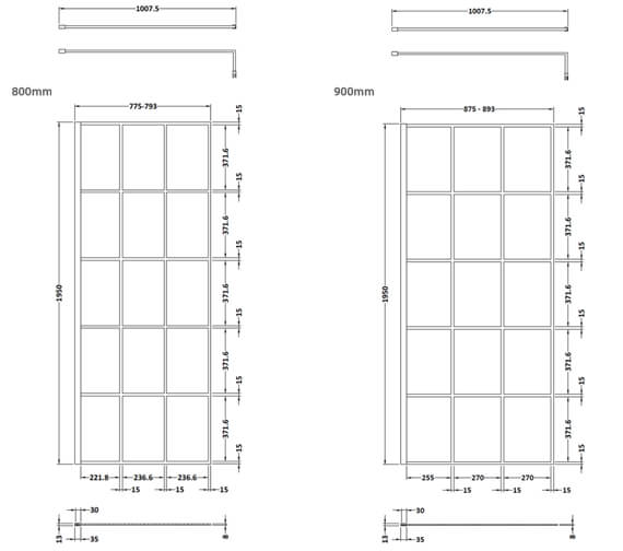 Alternate image of Hudson Reed Black Framed Walk-In Wetroom Screen And Support Bar