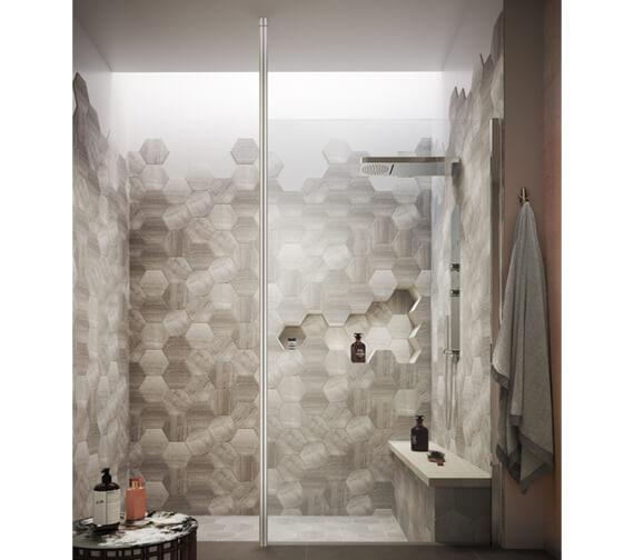 Hudson Reed Walk-In Wetroom Screen With Chrome Ceiling Post