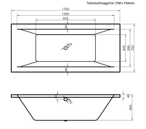 Additional image of Premier Asselby 1700 x 700mm Square Double Ended Acrylic Bath