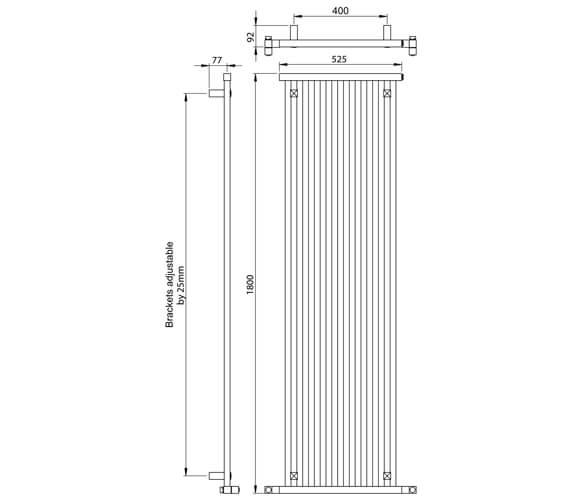 Additional image of Vogue Squire Vertical 1800mm High Designer Radiator