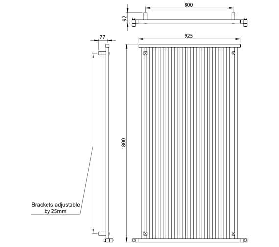 Alternate image of Vogue Squire Vertical 1800mm High Designer Radiator