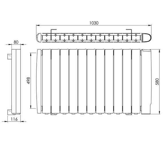 Alternate image of Vogue Stromboli 580mm High Electric Radiator